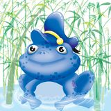 Sailor toad. Amongst bamboo pipes Stock Image