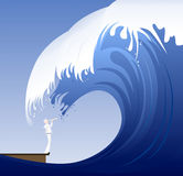 Sailor under Wave. Vector sailor too near for to see a big wave Stock Photography