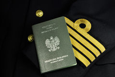 Sailor uniform with seaman's book, naval captain, Stock Images