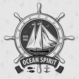Sailor vector vintage label, badge, or emblem stock illustration