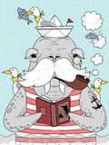 Sailor walrus adult coloring page Stock Photography