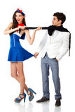 Sailor woman and elegant man flirting. Isolated on white background. High resolution studio image Royalty Free Stock Image
