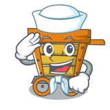 Sailor wooden trolley character cartoon. Vector illustration stock illustration