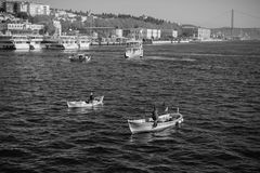 Sailorboats on Bosphorus royalty free stock photo