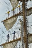 The sailors of the ARC Gloria on the masts. Ij river, Amsterdam, the Netherlands - August 23, 2015: Back view of the sailors of the ARC Gloria tall ship ( Royalty Free Stock Photos