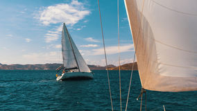Sailors boats participate in sailing regatta in the Aegean Sea. Sport. Sailors boats participate in sailing regatta in the Aegean Sea royalty free stock photo