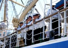 Sailors at the competition THE BLACK SEA TALL SHIPS REGATTA 2014 Royalty Free Stock Photography