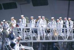 Sailors Debarking Ship Stock Images