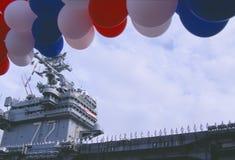 Sailors on Deck of Aircraft Carrier Stock Photos