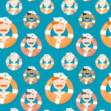 Sailors of different ethnicities seamless vector pattern Stock Photo