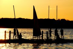 Sailors Enjoy the Sunset on Lake Mendota Stock Image