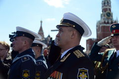 Sailors during the national anthem on the red square during the General rehearsal of the parade dedicated to the 72 anniversary of Stock Photography