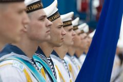 Sailors of the Navy of Ukraine. ODESSA, UKRAINE - Jul 16, 2018: Sailors of the Navy of Ukraine during Multinational maritime exercise Sea Breeze 2018, in which royalty free stock photo