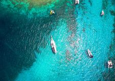 Sailors Paradise. Nothing beats anchoring in Tobago Cays, St. Vincent and the Grenadines with palm trees ad turquoise seas Royalty Free Stock Photo