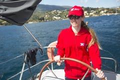 Sailors participate in sailing regatta 11th Ellada Royalty Free Stock Photography