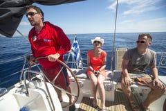 Sailors participate in sailing regatta 11th Ellada Stock Photos