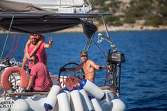 Sailors participate in sailing regatta 16th Ellada Royalty Free Stock Photography