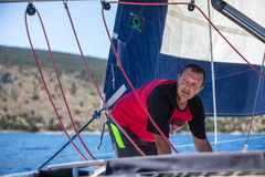 Sailors participate in sailing regatta 16th Ellada Autumn 2016 among Greek island group in the Aegean Sea Stock Photo