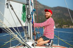 Sailors participate in sailing regatta 20th Ellada Autumn 2018 among Greek island group in the Aegean Sea stock photography