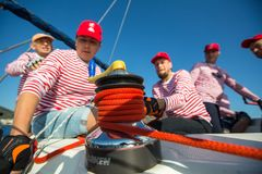 Sailors participate in sailing regatta 20th Ellada Autumn 2018 among Greek island group in the Aegean Sea stock images