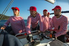 Sailors participate in sailing regatta 20th Ellada Autumn 2018 among Greek island group in the Aegean Sea royalty free stock photography