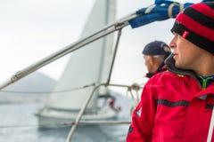 Sailors participate in sailing regatta Royalty Free Stock Photos