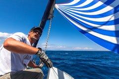 Sailors participate in sailing regatta Sail & Fun Trophy from Marmaris to Fethiye in the Mediterranean Sea. Stock Photo