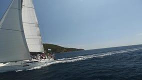 Sailors participate in sailing regatta 12th Ellada stock video footage