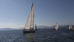 Sailors participate in sailing regatta 16th Ellada stock video