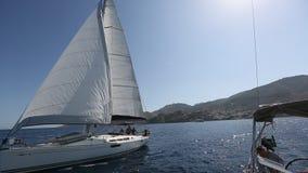 Sailors participate in sailing regatta 16th Ellada Autumn 2016 stock footage