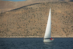 Sailors participate in sailing regatta 12th Ellada Autumn 2014 among Greek island group in the Aegean Sea Stock Image