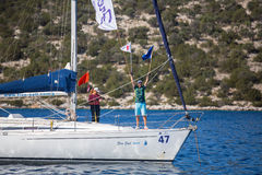 Sailors participate in sailing regatta 16th Ellada Autumn 2016 among Greek island group in the Aegean Sea Royalty Free Stock Photo
