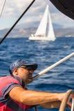 Sailors participate in sailing regatta 16th Ellada Autumn 2016 among Greek island group in the Aegean Sea Royalty Free Stock Photos