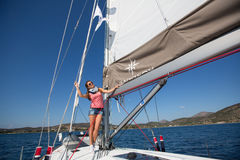 Sailors participate in sailing regatta 16th Ellada Autumn 2016 among Greek island group in the Aegean Sea Royalty Free Stock Images