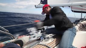 Sailors participate in sailing regatta 12th Ellada Autumn 2014 among Greek island group in the Aegean Sea stock video