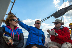 Sailors participate in sailing regatta 12th Ellada Autumn 2014 among Greek island group in the Aegean Sea Stock Photography