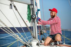 Sailors participate in sailing regatta 20th Ellada Autumn 2018 among Greek island group in the Aegean Sea royalty free stock photos