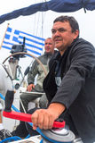 Sailors participate in sailing regatta 12th Ellada Autumn 2014 among Greek island group in the Aegean Sea. PYLOS, GREECE - CIRCA OCT, 2014: Unidentified sailors royalty free stock photography