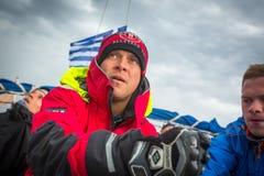 Sailors participate in sailing regatta 12th Ellada Autumn 2014 among Greek island group in the Aegean Sea Stock Photo
