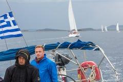 Sailors participate in sailing regatta 12th Ellada Autumn 2014 among Greek island group in the Aegean Sea Royalty Free Stock Photos