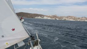 Sailors participate in sailing regatta 16th Ellada Autumn 2016 among Greek island group stock video footage
