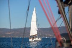 Sailors participate in sailing regatta 16th Ellada Royalty Free Stock Photo