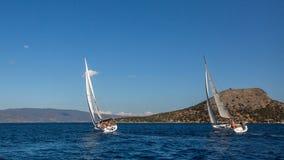 Sailors participate in sailing regatta 16th Ellada Royalty Free Stock Photography