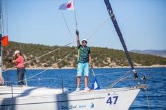 Sailors participate in sailing regatta 16th Ellada Royalty Free Stock Photos
