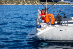 Sailors participate in sailing regatta 16th Ellada Stock Photos