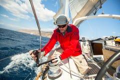 Sailors participate in sailing regatta 12th Ellada Royalty Free Stock Photos