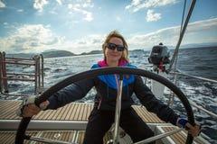 Sailors participate in sailing regatta 12th Ellada Royalty Free Stock Images