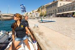 Sailors participate in sailing regatta 16th Ellada. HYDRA, GREECE - SEP 28, 2016: Sailors participate in sailing regatta 16th Ellada Autumn 2016 among Greek Stock Image