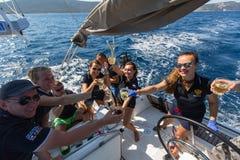 Sailors participate in sailing regatta 16th Ellada. HYDRA, GREECE - SEP 28, 2016: Sailors participate in sailing regatta 16th Ellada Autumn 2016 among Greek Royalty Free Stock Photos
