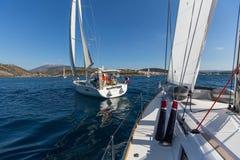 Sailors participate in sailing regatta 16th Ellada. HYDRA, GREECE - SEP 28, 2016: Sailors participate in sailing regatta 16th Ellada Autumn 2016 among Greek Royalty Free Stock Photo